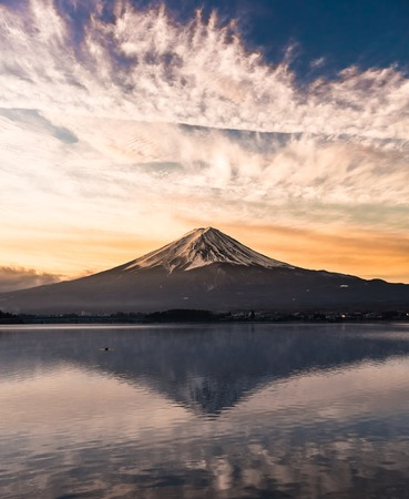 Mount Fuji from Lake in morning sun Stock Photo