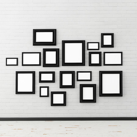 big picture: picture frame on white brick wall