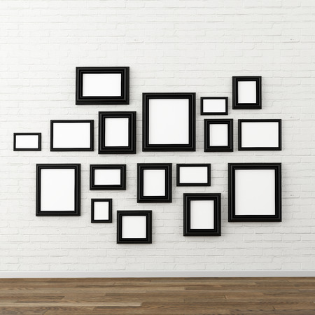omlijsting op witte bakstenen muur Stockfoto