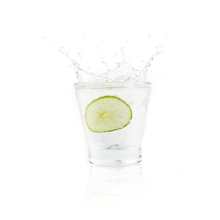 Lemonade and ice in a glass Stock Photo