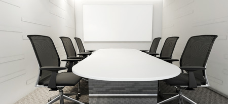 An empty meeting room and conference table Stock Photo