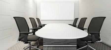 Een lege zaal en vergadertafel