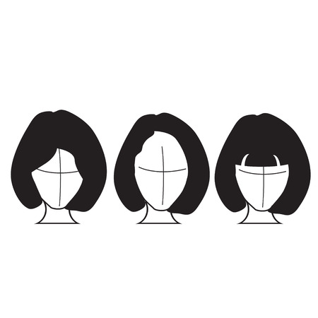 peluca: aislado peluca de pelo Vectores