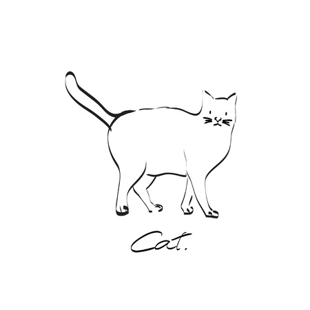 cats sketch out line Illustration