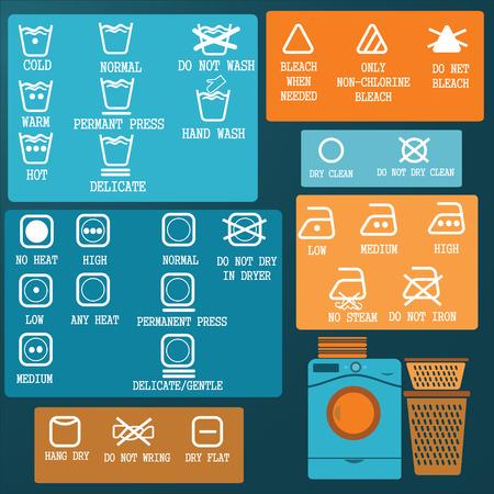 drycleaning: Laundry And Washing Icons set Stock Photo