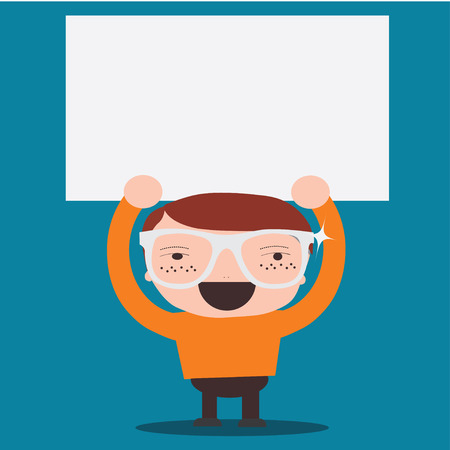 business man holding big blank paper over head Vector