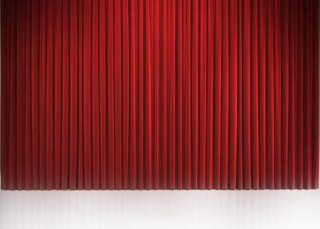 Red closed curtain with light spots in a theater photo