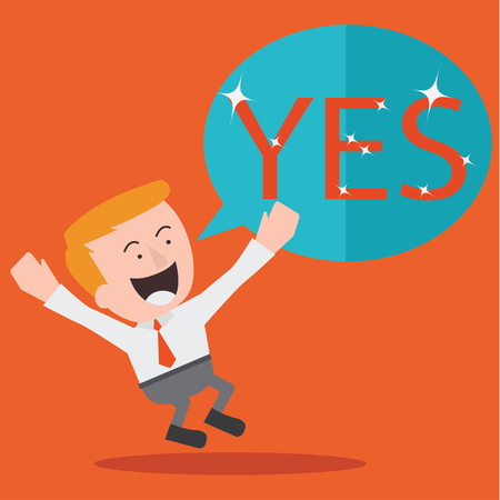 businessman jumping: Young Businessman Jumping With the Word Yes Illustration