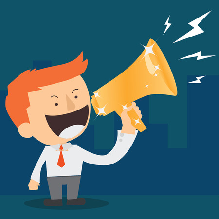 announcing: businessman announcing through megaphone