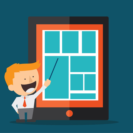 young business man presenting with tablet pad Vector
