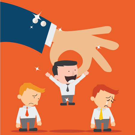 Business hand picking up a  businessman.Human Resources concept Vector