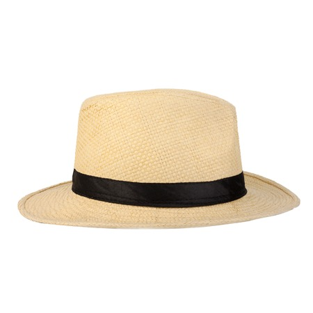 chapeau paille: Summer panama chapeau de paille isol� sur blanc Banque d'images