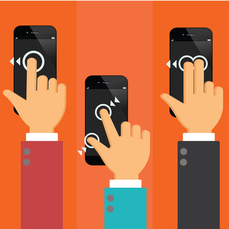 using smart phone: smart phone  using with hand touching screen symbol.flat design Stock Photo