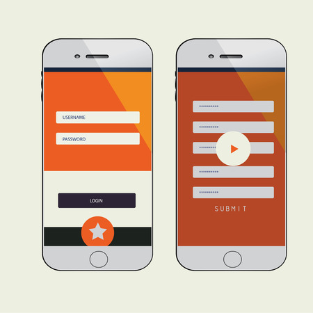simple mobile phone, buttons, forms, windows and other interface elements. photo
