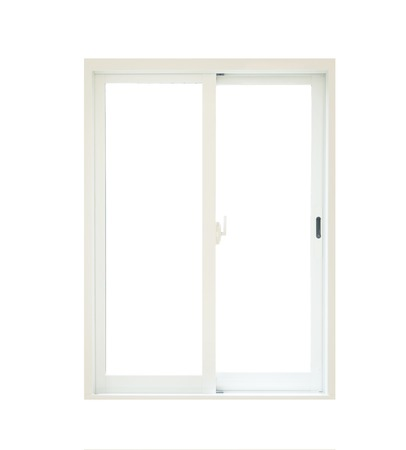 White Plastic Double Door Window Isolated On White Background Stock