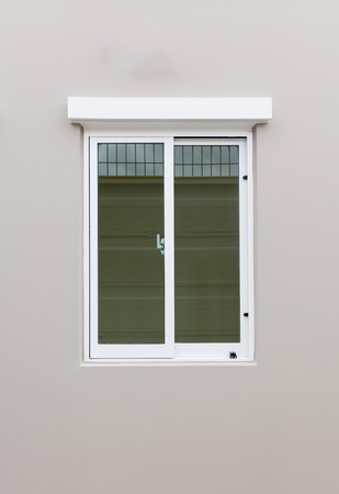 White plastic double door window
