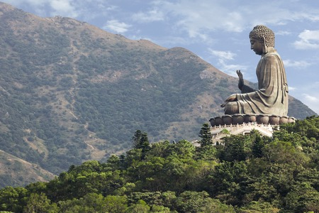 Giant Buddha/Po Lin Monastery in Hong Kong, Lantau Island Stock Photo