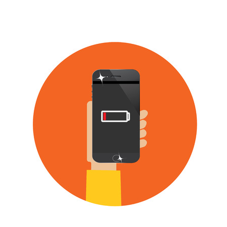 low battery: smart phone with low battery Stock Photo