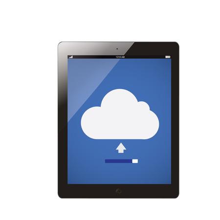 uploading: tablet computer with cloud server uploading