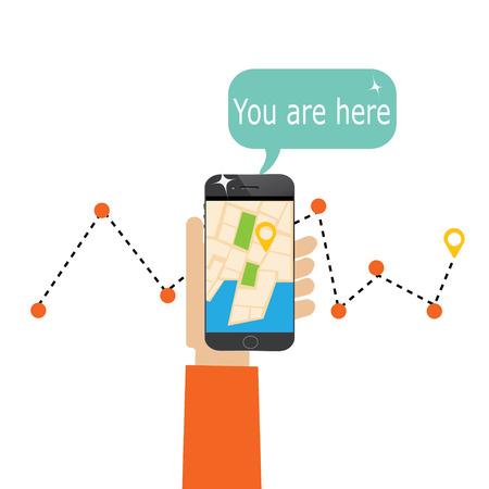 smartphone met mobiel gps navigatie op een scherm en route met check-in symbolen Stockfoto