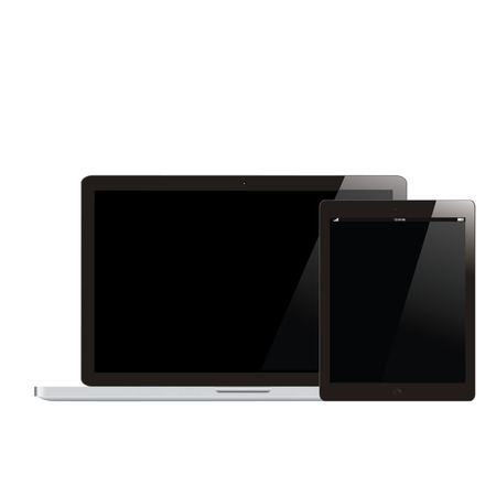 Electronic Devices with black Screens - Electronic devices with white, shiny screens isolated on white background; desktop computer, laptop, tablet and mobile phones. photo