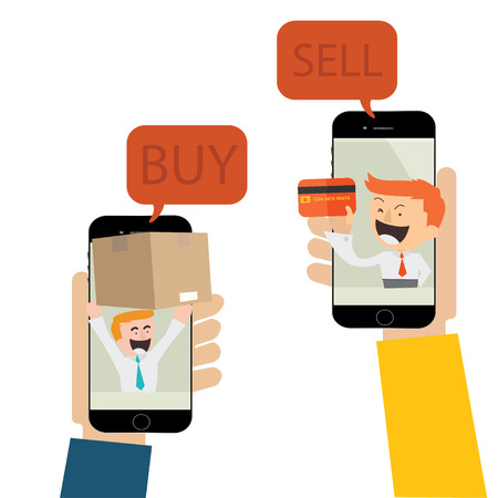 vector trading by mobile,e-commerce photo