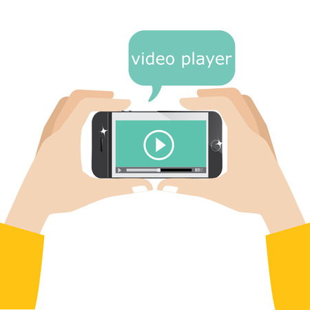 3g: Mobile phone with video player on the screen Stock Photo