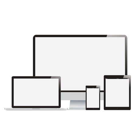 Electronic Devices with White Screens - Electronic devices with white, shiny screens isolated on white background; desktop computer, laptop, tablet and mobile phones. photo