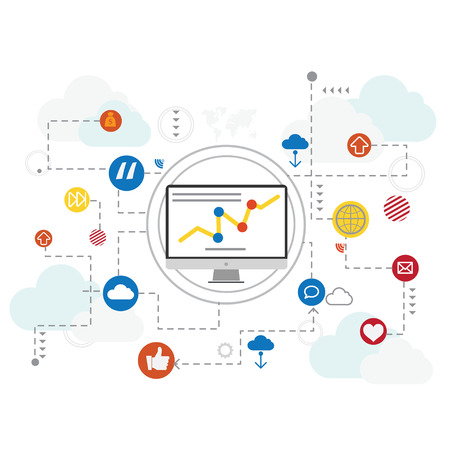 marketting: Flat design vector concept network marketing,digital marketting concept