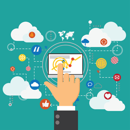 marketting: Flat design concept network marketing,digital marketting concept