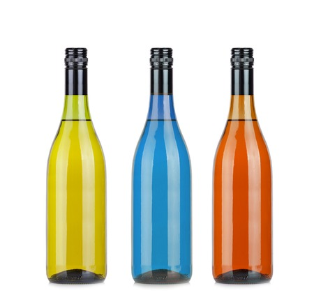white,and red wine bottles set isolated on white