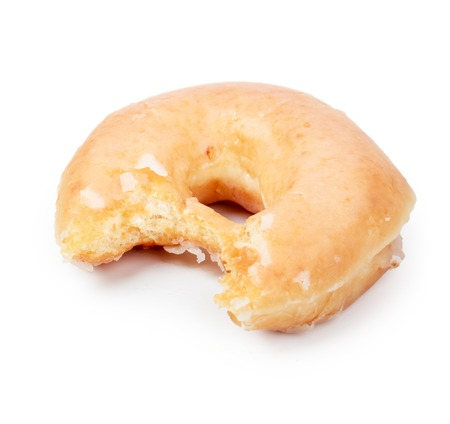 missing bite: Glazed Donut with Bite Missing Isolated on white Background