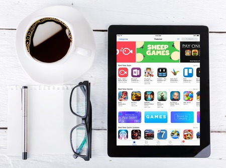 app store: Chiang mai,THAILAND Fab 25, 2015:Apple Application Store On Apple iPad Air. In 2008, Apple launched the App Store introducing third-party app development and distribution.
