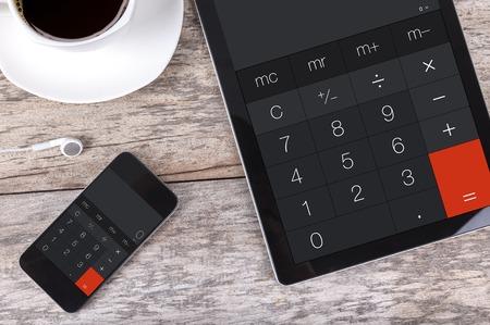 Tablet en smartphone als een rekenmachine