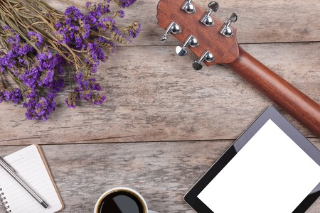 compose: compose a song on a wooden Stock Photo
