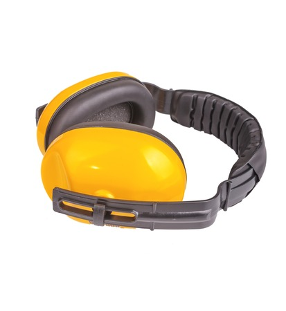 decibels: Protective ear muffs Isolated on a white background.