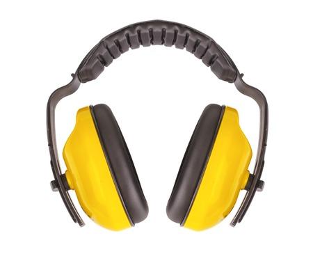 Beschermende oorwarmers geïsoleerd op een witte achtergrond. Stockfoto