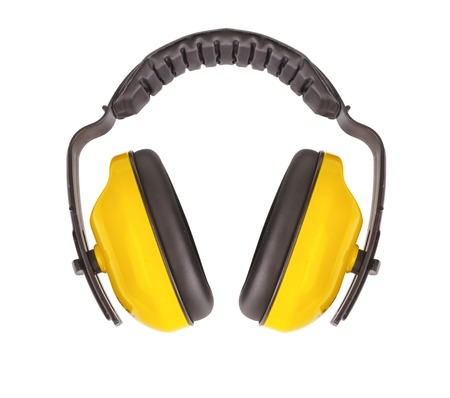 listening ear: Protective ear muffs Isolated on a white background.