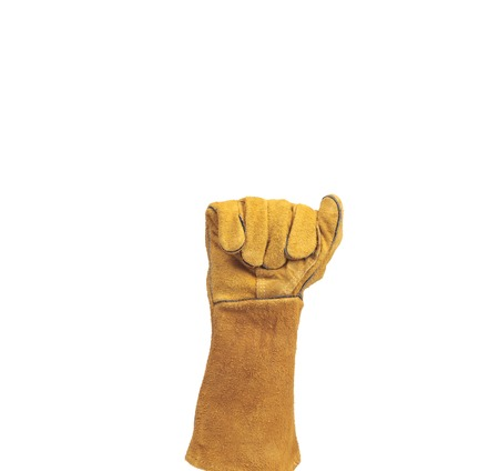 work gloves: hand in leather work gloves Stock Photo