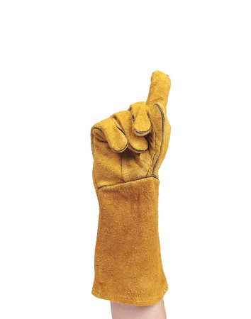 clench: hand in leather work gloves Stock Photo