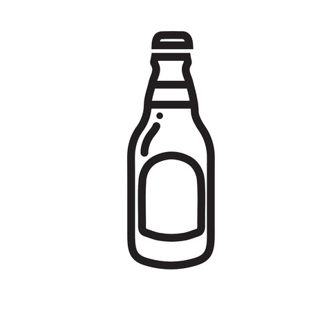Beer bottle icon thin line for web and mobile Illustration