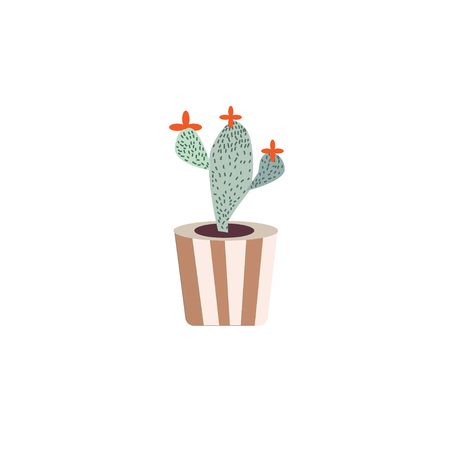 Vector - linear design, potted cactus