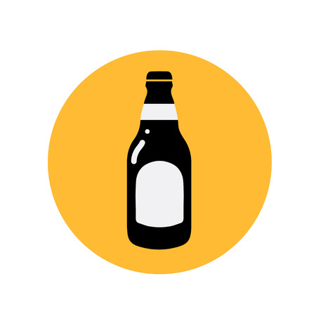 Beer bottle icon thin line for web and mobile, modern minimalistic flat design.