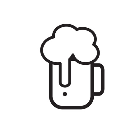 Beer icon thin line for web and mobile, modern minimalistic flat design. Illustration