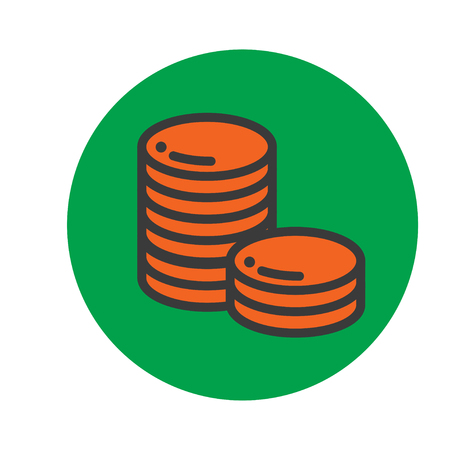 cheques: Stack of coins or casino chips line art icon for games and apps
