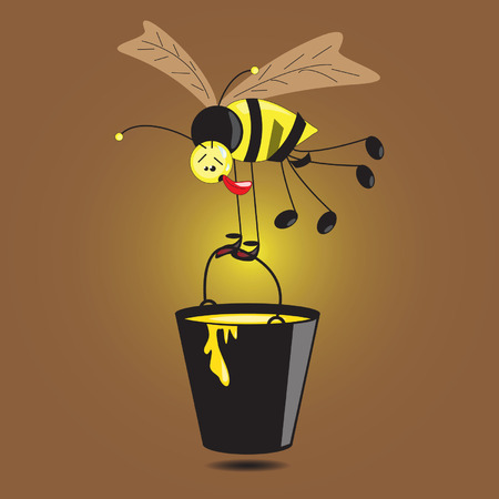 industrious: Illustration of bee with large bucket of honey