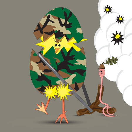insurrection: Humorous illustration of brave chicken and worm