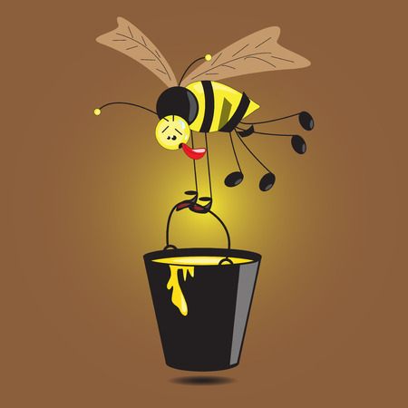 Illustration of bee with large bucket of honey