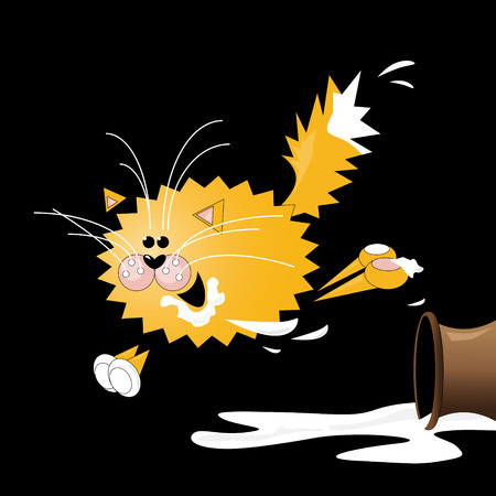 prankster: Vector illustration of cat, which overturned a jug with milk  Illustration
