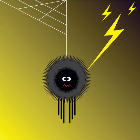 Illustration of spider shocked by lightning